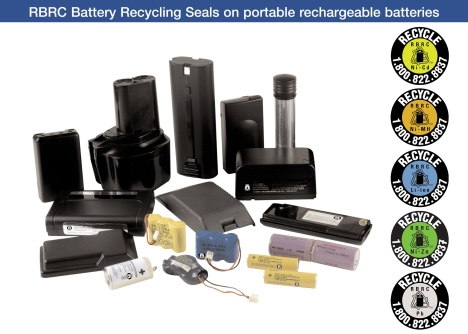 Call 2 Recycle accepts rechargeable batteries for recycling funded by the Rechargeable Battery Recycling Corporation
